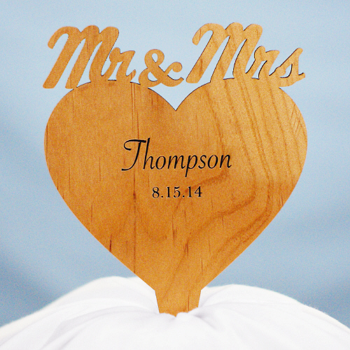 Engraved Mr. & Mrs. Cake Topper W77080
