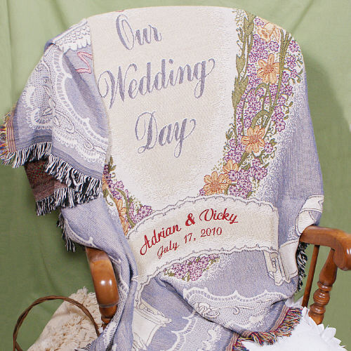 Embroidered Wedding Throw Blanket | Personalized Wedding Gifts for Couple