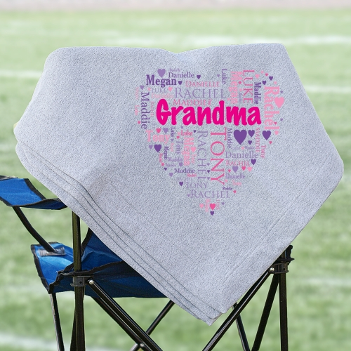Heart Word Art Fleece Blanket | Personalized Word Art