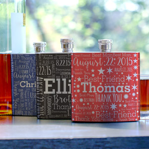 Groomsman Word-Art Flask
