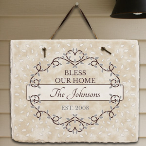 Personalized Bless Our Home Slate