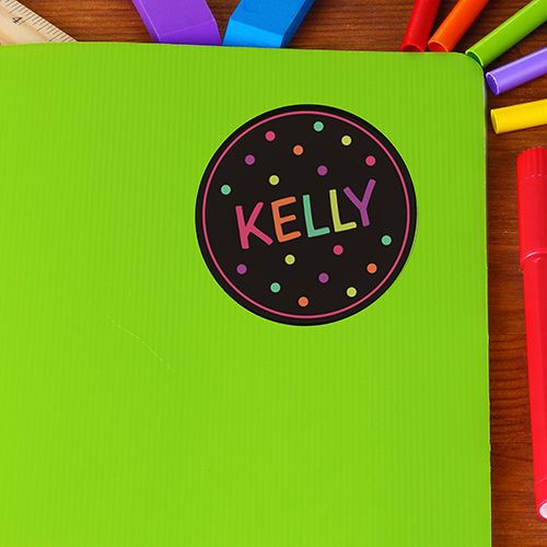 Personalized Polka Dot Kids Stickers | Personalized Back To School Supplies