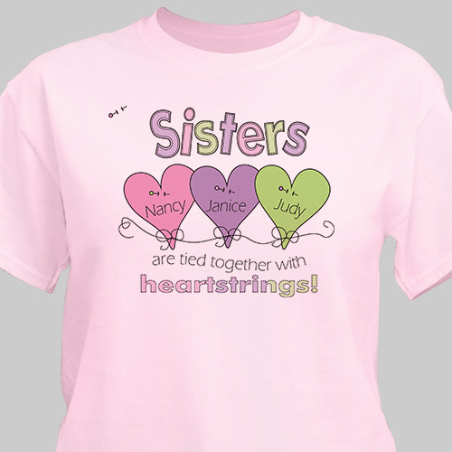Heart Strings Personalized Sisters Shirt