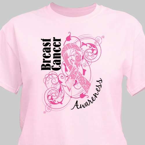 Personalized Breast Cancer Hope Ribbon Awarness T-Shirt 34516x