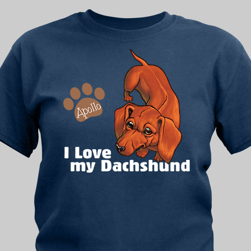 Personalized I Love My Dachshund T-Shirt 37070DCX