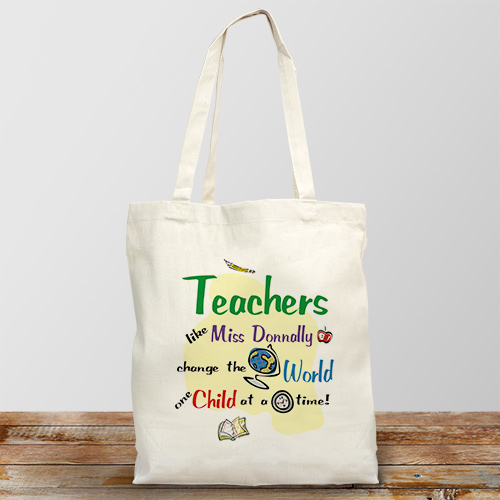 Change The World Personalized Canvas Tote Bag
