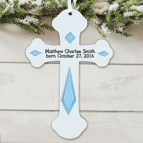 New Baby Engraved Cross Ornament 838363x