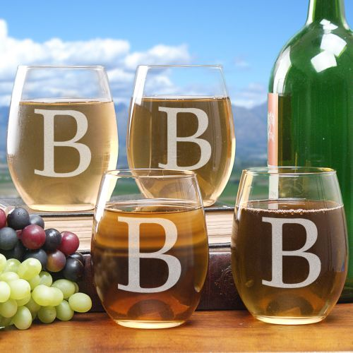 Engraved Initial Stemless Wine Glass Set | Personalized Housewarming Gifts