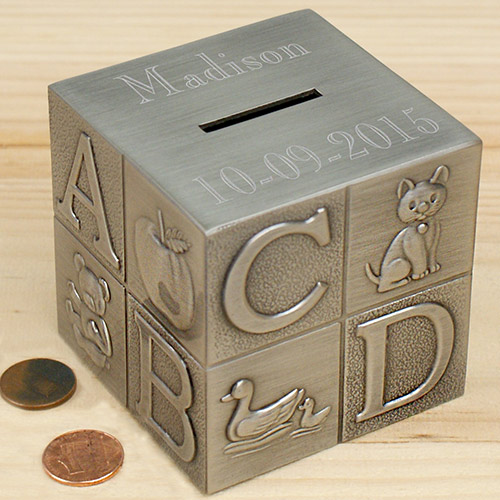 ABC Baby Silver Alpha Block Bank | Personalized Newborn Baby Gifts