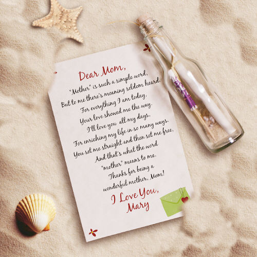 Mother's Day Message In A Bottle | Gifts For Mom