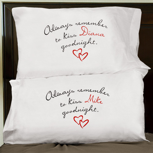 Always Remember To Kiss Goodnight Personalized Pillowcase