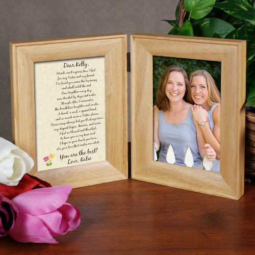 To My Sister... Natural Wood Bi-Fold Personalized Picture Frame