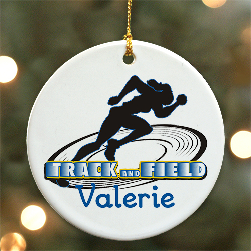 Personalized Ceramic Track and Field Ornament U376310
