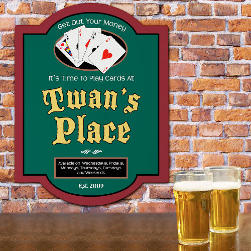 Poker Place Personalized Wall Sign | Mancave Gifts