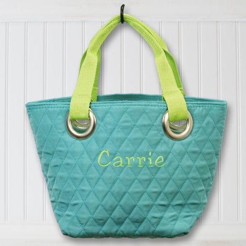 Embroidered Mini Quilted Tote Bag E7629109X
