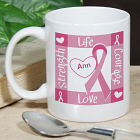 Ribbon of Heart - Breast Cancer Awareness Personalized Coffee Mug
