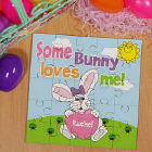 Some Bunny Loves Her Personalized Sqaure Shaped Easter Wood Jig Saw Puzzle