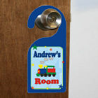 "New Baby ""All Aboard Baby Train"" Personalized Doorhanger"