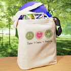 Peace Love Recycle Personalized Canvas Reusable Tote Bag