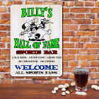 Personalized Hall of Fame Sports Bar Wall Sign