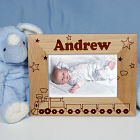 "New Baby ""All Aboard Baby Train"" Personalized Wood Picture Frame"
