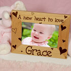 "New Baby ""She's All Heart"" Personalized Wood Picture Frame"