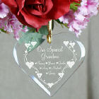 Personalized Grandma Heart Glass Ornament 828154H