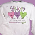 Heart Strings Personalized Sisters Sweatshirt