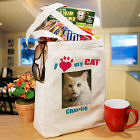 I Love My Cat Personalized Photo Tote Bag