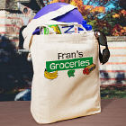 My Groceries Personalized Canvas Reusable Grocery Tote Bag