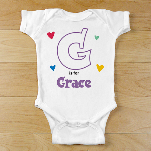 A is For... Hearts Infant Bodysuit | Personalized Initial Baby Bodysuit