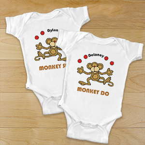 Just Monkey Around Twin Personalized Infant Bodysuit | Personalized Twin Baby Bodysuits