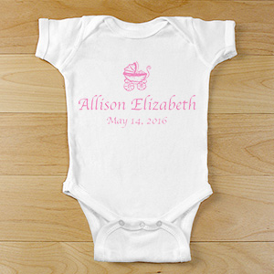 New Baby Girl Personalized Baby Carriage Infant Bodysuit | Baby Carriage Onesie