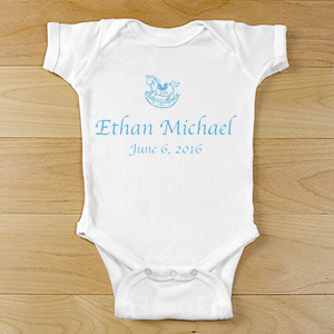 New Baby Boy Personalized Rocking Horse Infant Bodysuit | Personalized Gifts For Babies