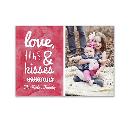 Love, Hugs & Kisses Card | Personalized Valentines Cards
