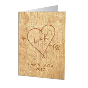 Personalized Carved Initial Cards | Personalized Valentine's Day Cards