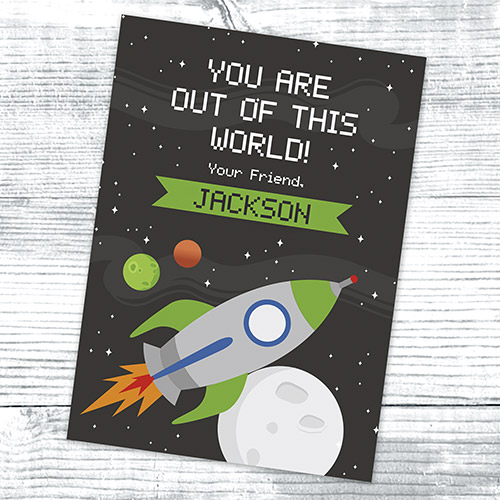 Personalized Out of this World Card | Personalized Valentine's Cards For Kids