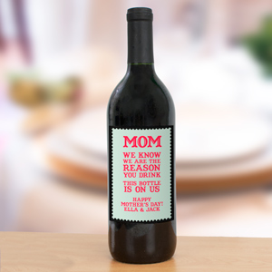 Personalized Mother's Day Wine Bottle Label | Personalized Wine Bottle Labels