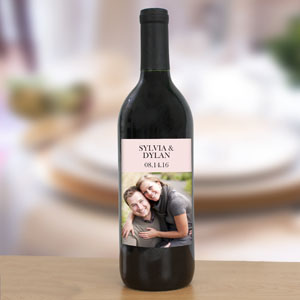 Personalized Rose Gold Photo Wedding Wine Bottle Label