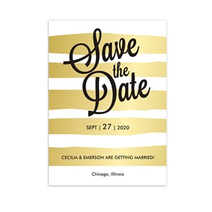 Personalized Gold Stripes Save the Date 11040210X