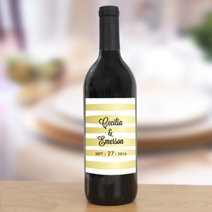 Personalized Gold Stripes Wedding Wine Bottle Labels