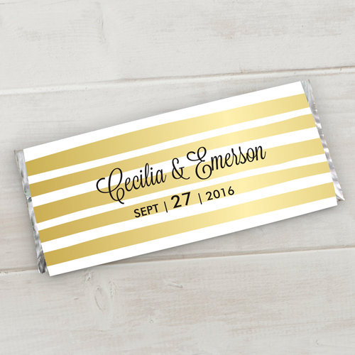 Personalized Gold Stripe Wedding Candy Bar Wrappers | Personalized Candy Wrappers