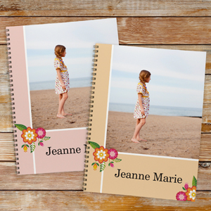 Personalized Floral Photo Notebook - Set of 2