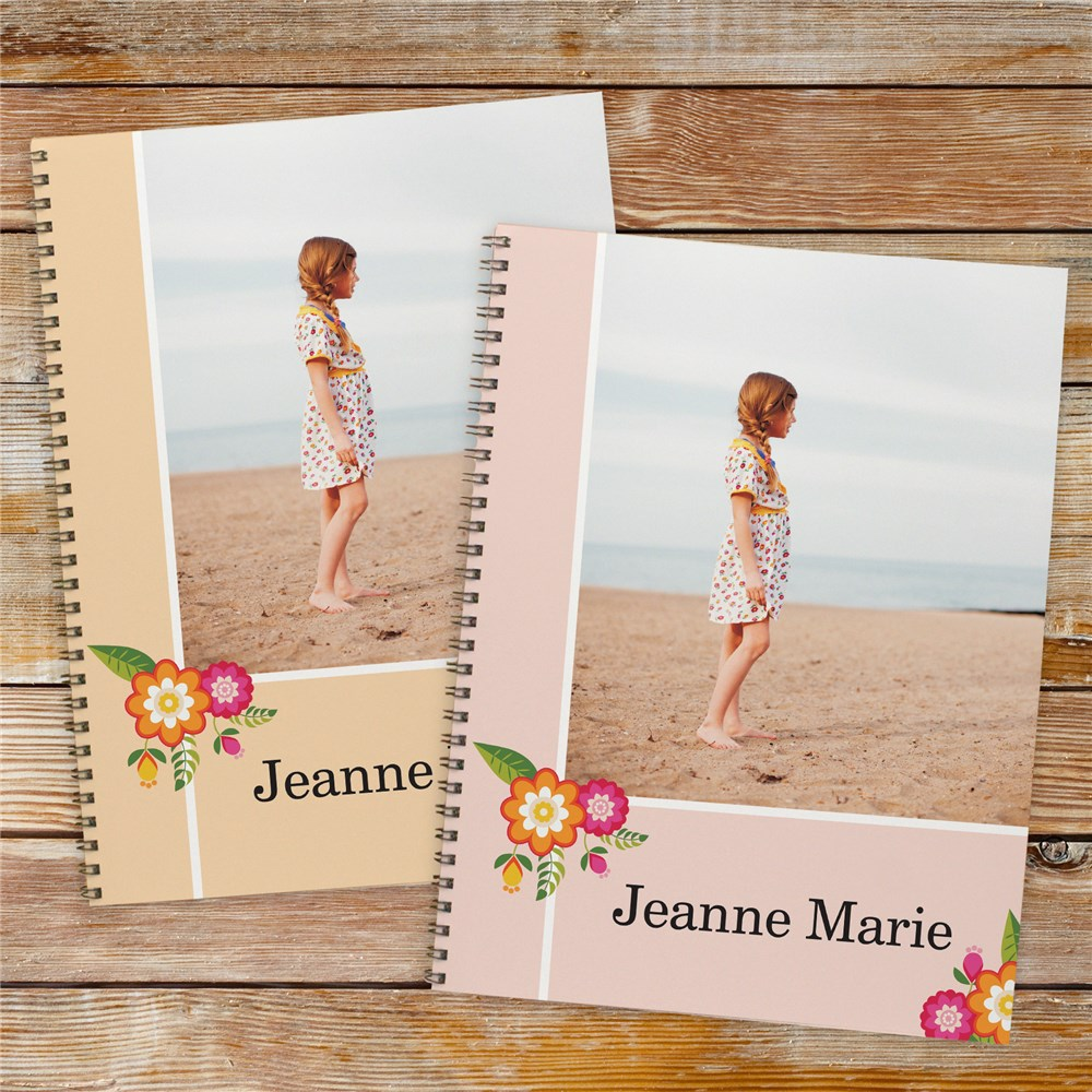Personalized Floral Photo Notebook | First Day Of School Gifts
