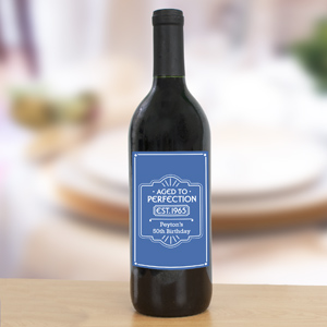 Personalized Aged to Perfection Wine Bottle Labels