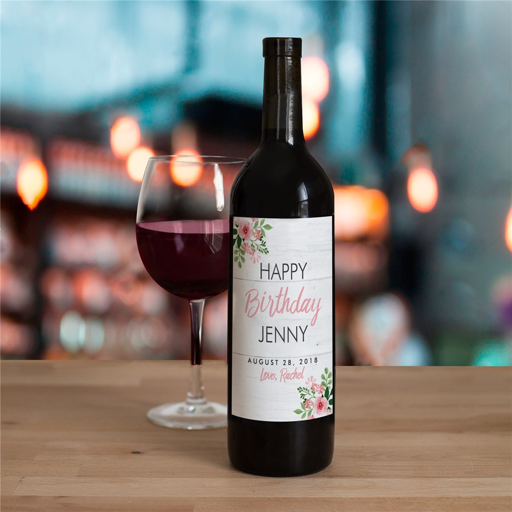 Personalized Floral Birthday Wine Bottle Labels 11054711X