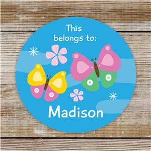 Personalized Butterfly Kids Stickers | Personalized Back to School Supplies