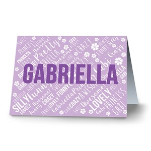 Personalized Name Word-Art Note Cards | Personalized Stationery