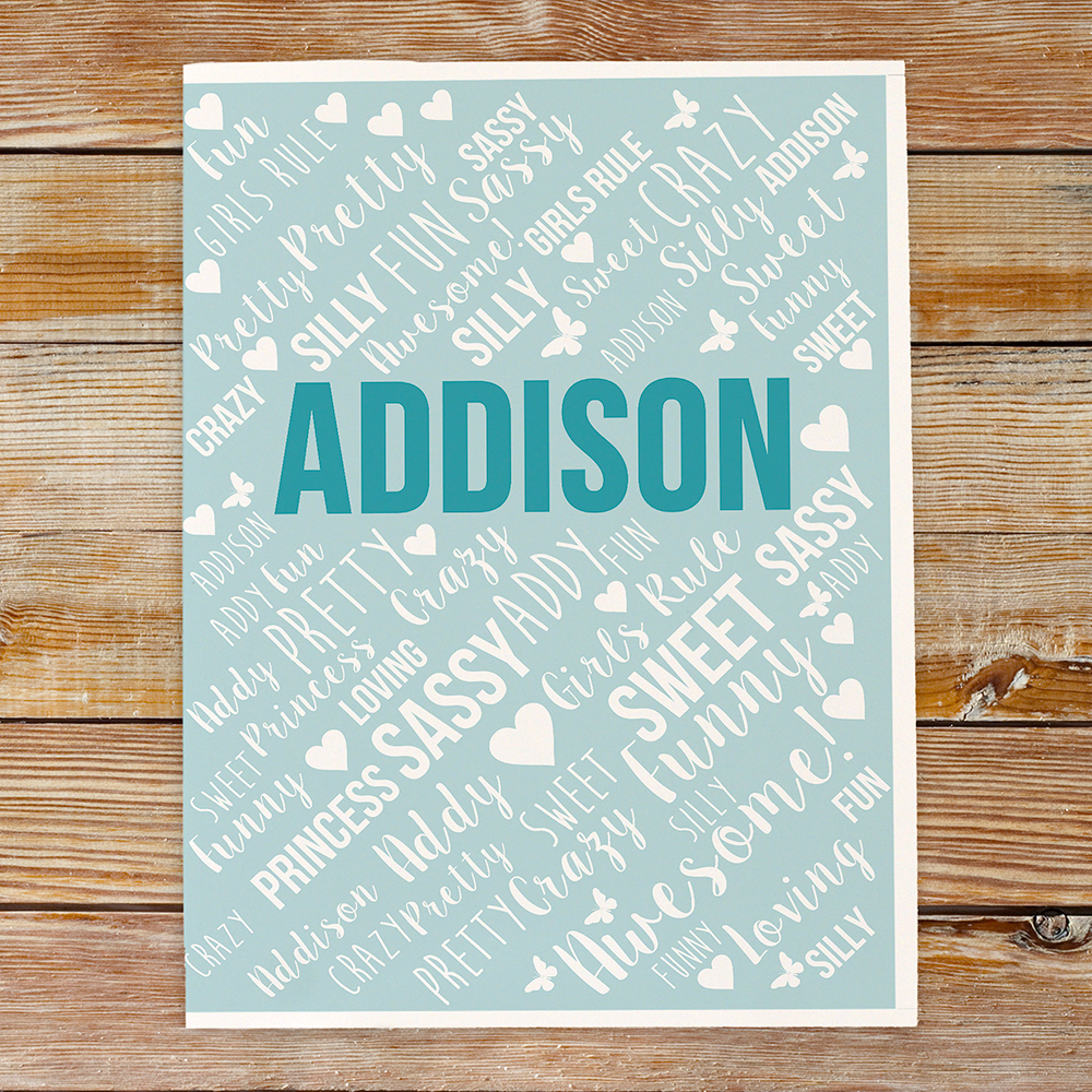 Personalized Folder Set With Any Name Word-Art | Personalized Back To School Supplies