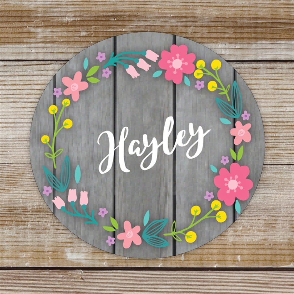 Personalized Floral Wreath Sticker | Personalized Stickers With Your Name